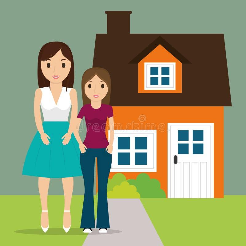 Mama z nastoletniej córki nowym domem ilustracji