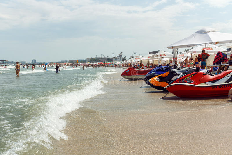 MAMAIA BEACH. Some jet ski parked on the Mamaia Beach, Black Sea royalty free stock photos