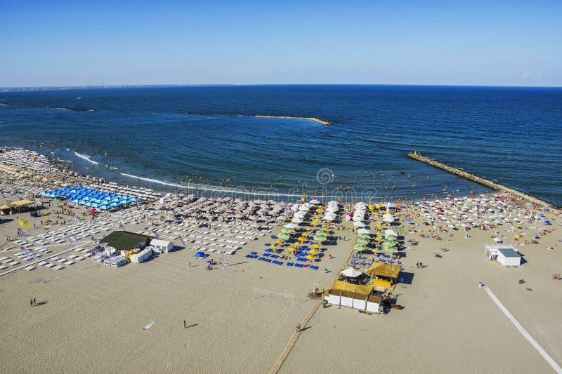 Mamaia strand på den Black Sea kusten royaltyfri fotografi