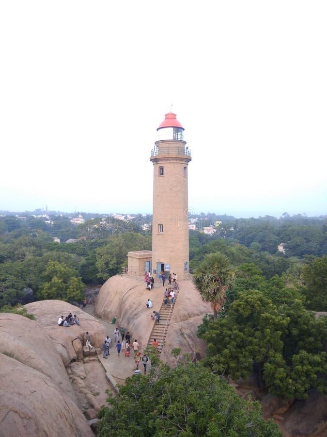 Mamallapuram-Leuchtturm-Standortansicht stockbilder