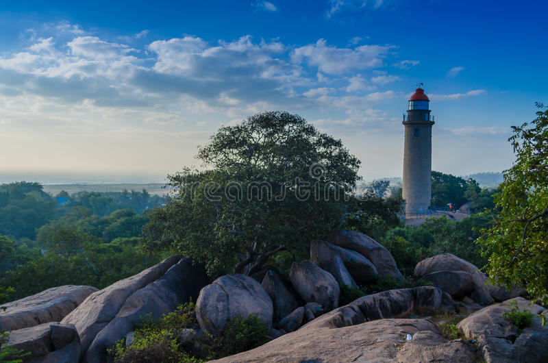 Mamallapuram Lighthouse. One of the beautiful lighthouses in India, though not at the beach...this one gives a good view of the Mahabalipuram city and the royalty free stock photo