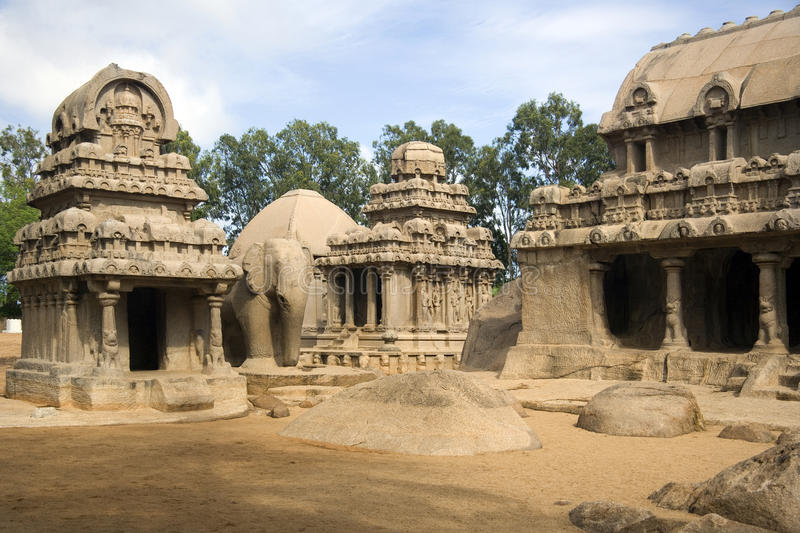 Mamallapuram - Tamil Nadu - India. The Panch Rathas monolithic rock cut temple complex at Mamallapuram in the Tamil Nadu region of Southern India royalty free stock photography