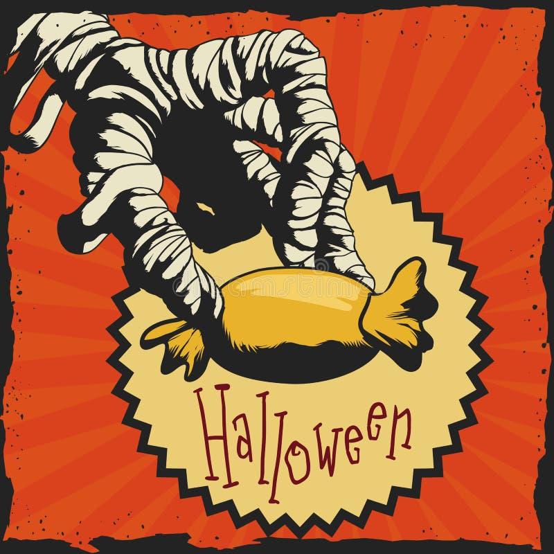 Maman avec affiche de sucrerie de Halloween la rétro, illustration de vecteur illustration de vecteur