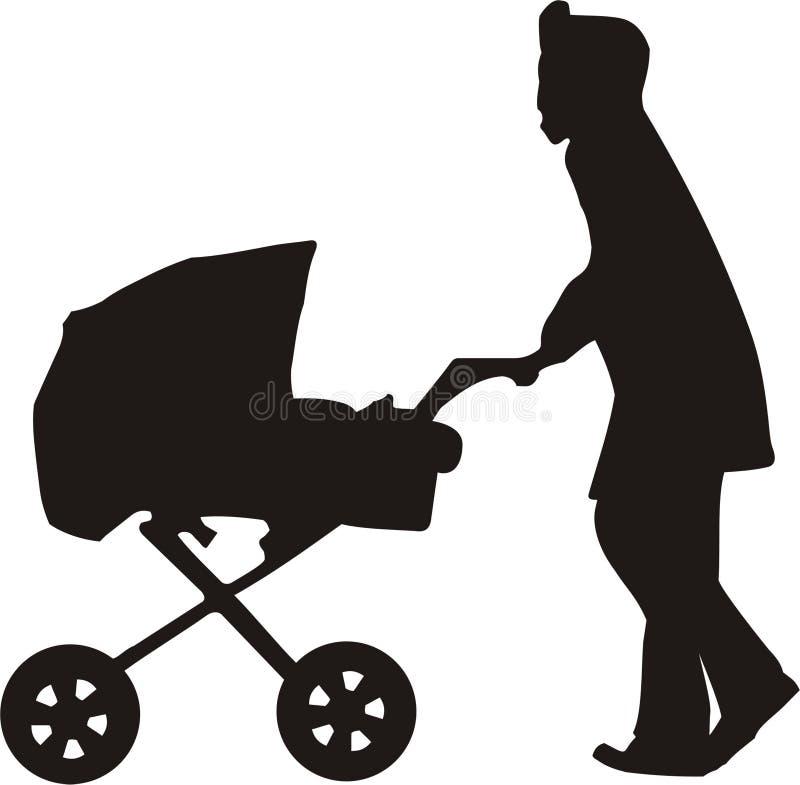 Maman avec l'enfant dans le chariot illustration stock