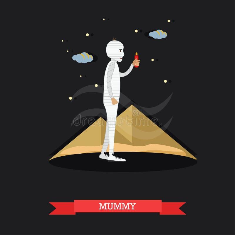 Maman avec la bougie Affiche heureuse de concept de vacances de Halloween Illustration de vecteur dans la conception plate de sty illustration libre de droits