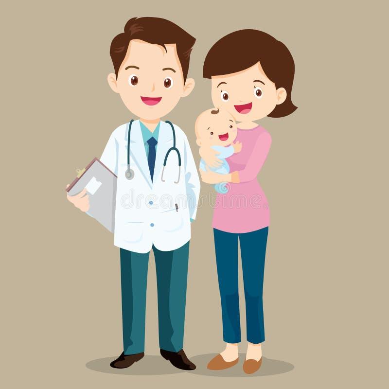 Maman avec le bébé et le pédiatre illustration de vecteur