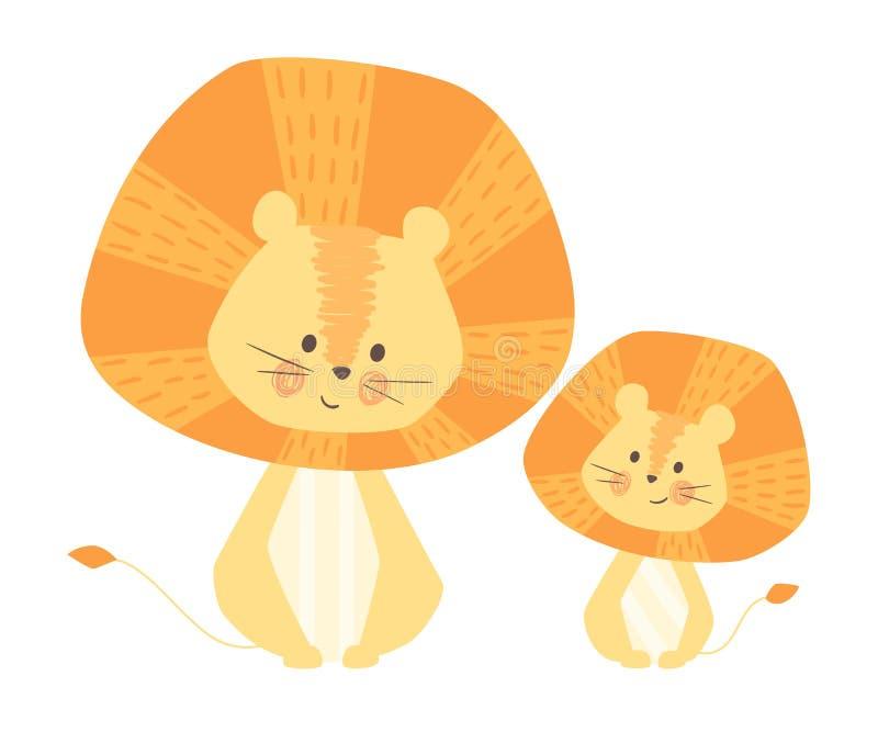Maman de lion et copie mignonne de bébé Famille animale douce illustration stock