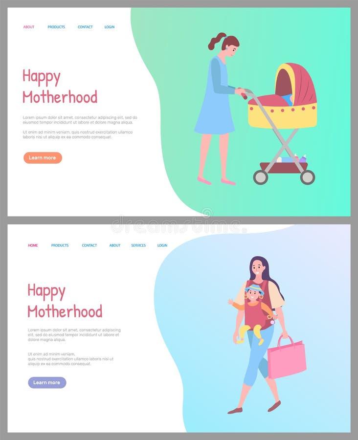 Maman et bébé heureux de maternité en site Web de landau illustration stock