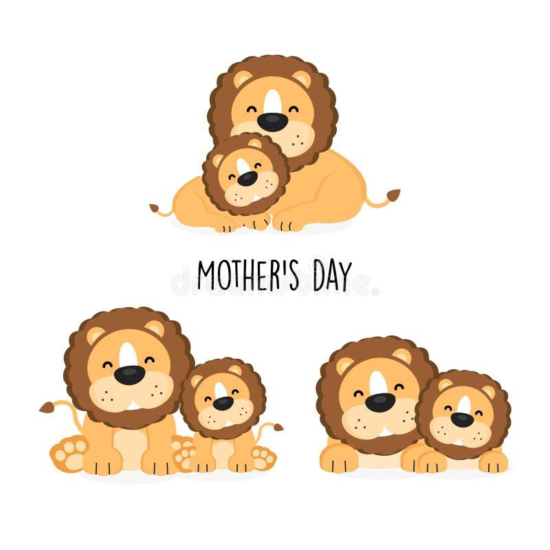 Maman et bébé mignons de lion avec la pose différente illustration libre de droits