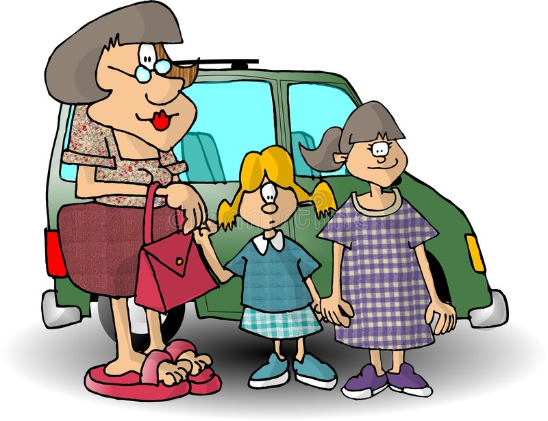 Maman et deux descendants illustration de vecteur