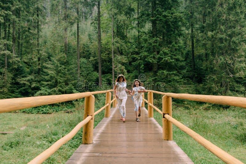 Maman et deux filles marchant près du lac photographie stock libre de droits