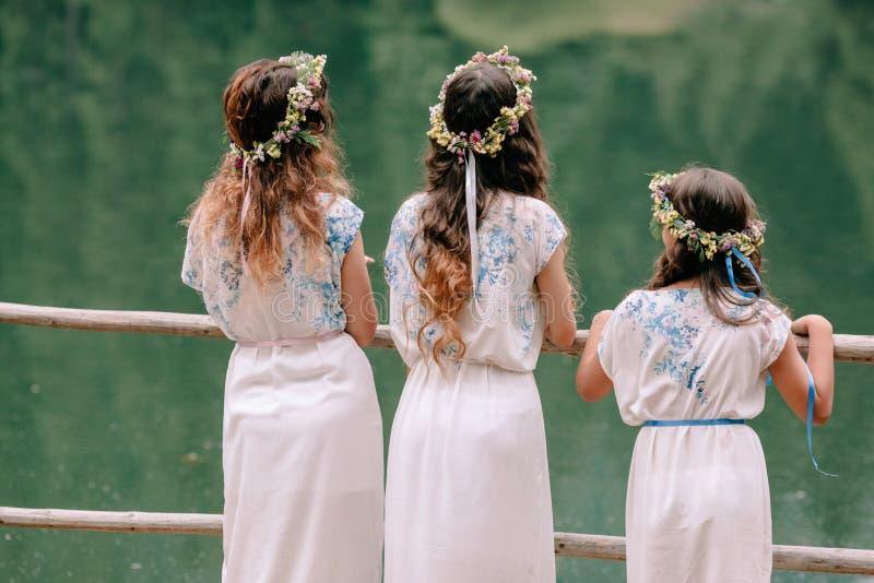 Maman et deux filles marchant près du lac image libre de droits