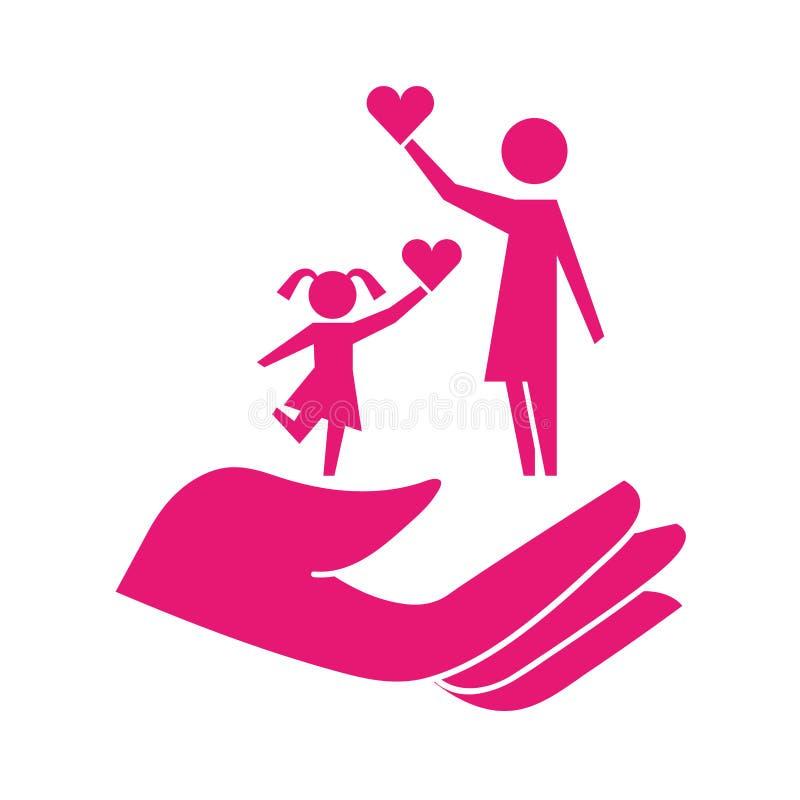 Maman et fille tenant le pictogramme de protection de coeur en main illustration de vecteur