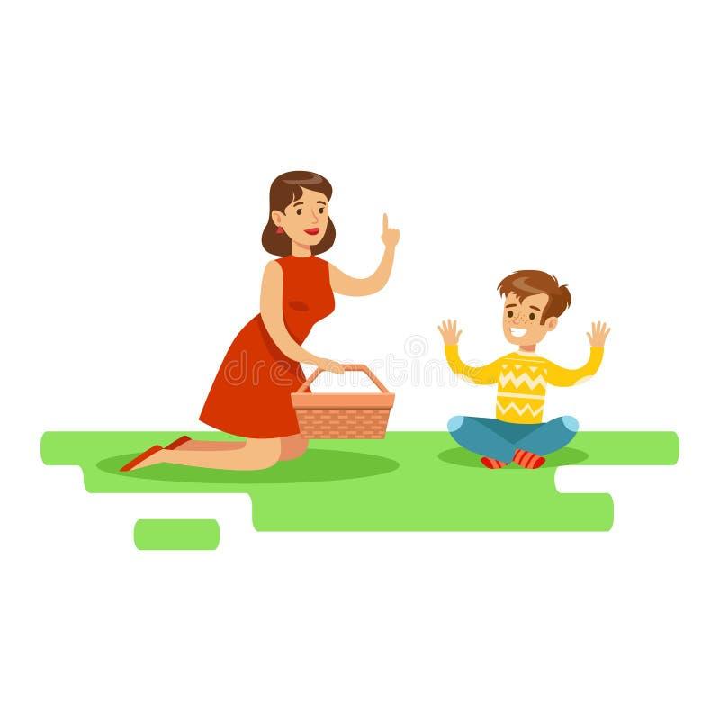 Maman et fils ayant le pique-nique, famille heureuse ayant la bonne illustration de temps ensemble illustration stock