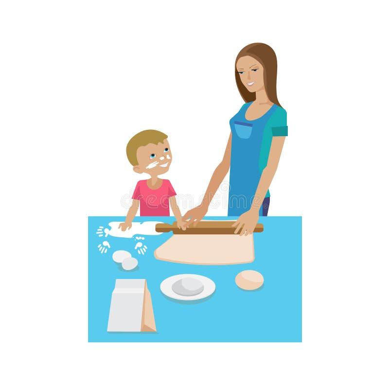 Maman et fils faisant cuire ensemble Cuisson de la formation, vie quotidienne commune illustration de vecteur