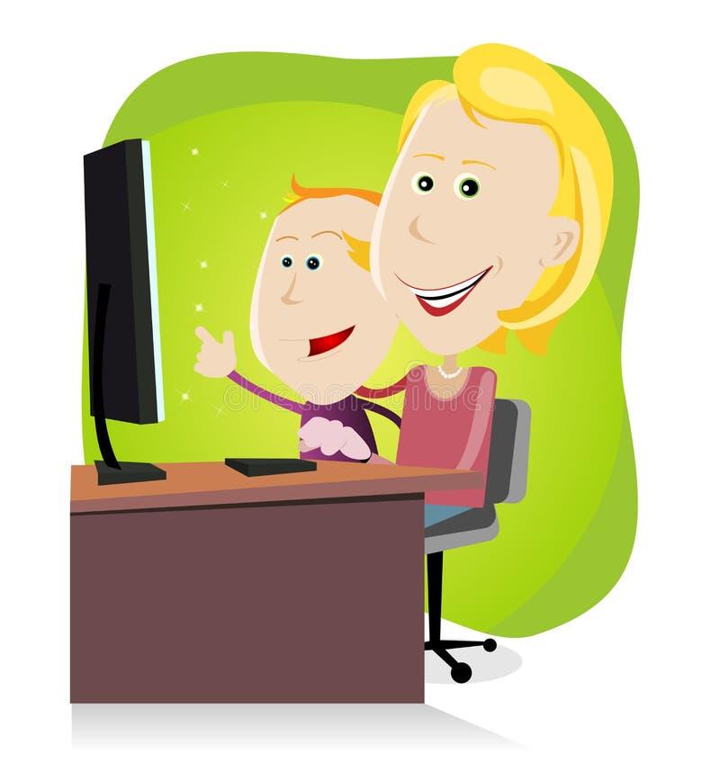 Maman et fils surfant sur le réseau illustration libre de droits