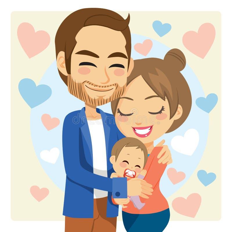 Maman et papa étreignant le bébé illustration de vecteur