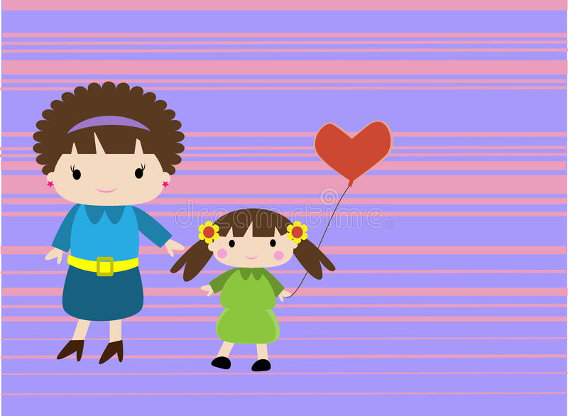 Maman et sa fille illustration stock