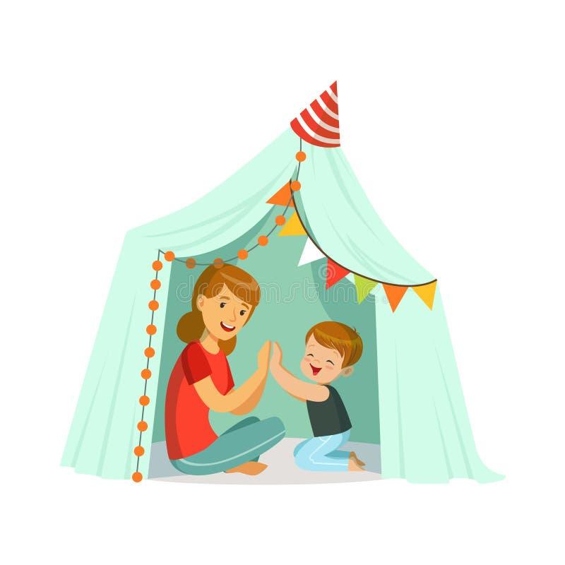 Maman et son fils jouant dans une tente de tepee, enfant ayant l'amusement dans une illustration de vecteur de hutte illustration de vecteur