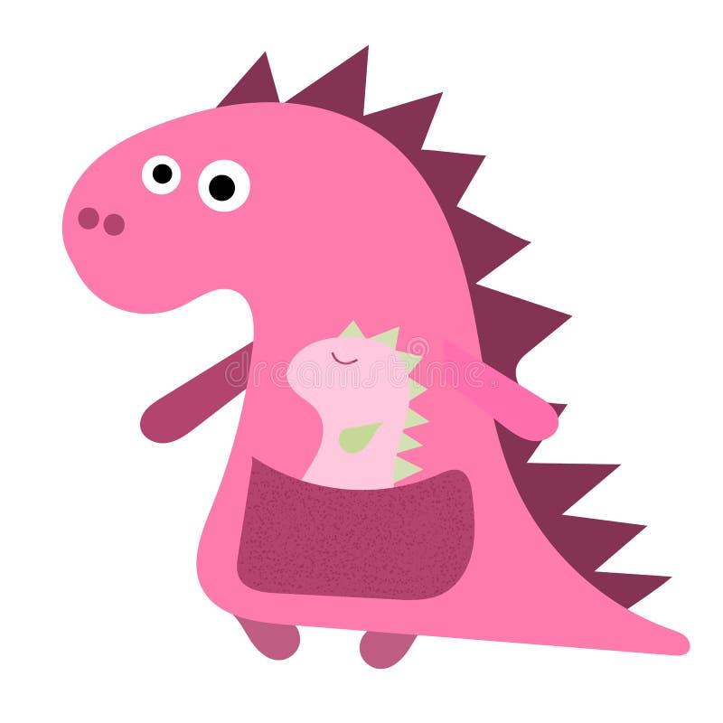 Maman mignonne de Dino avec avec un petit dinosaure Fille rose de Dino, maman et son bébé, caractère tiré par la main plat de vec illustration de vecteur