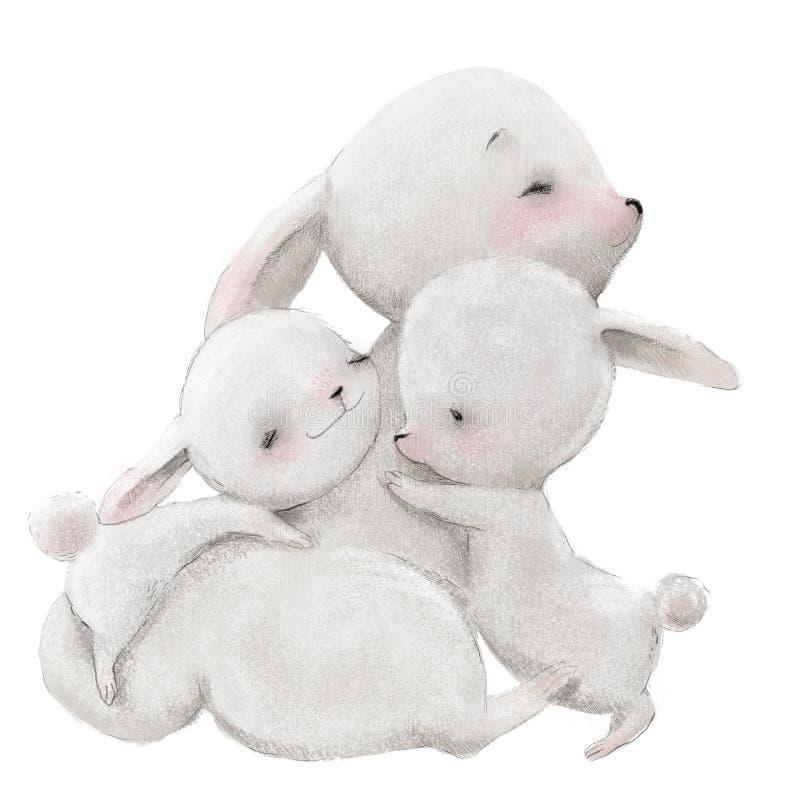 Maman mignonne de lièvres avec ses enfants de lièvres photo stock