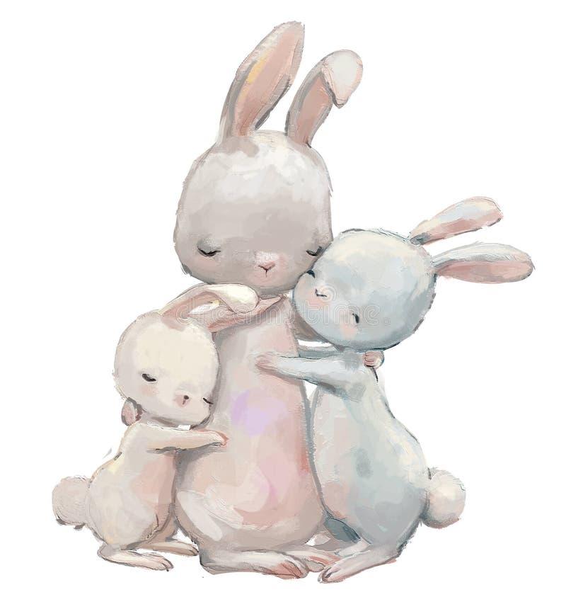 Maman mignonne de lièvres avec ses enfants de lièvres illustration de vecteur