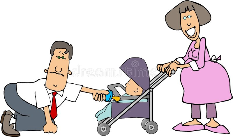 Maman, papa et une chéri dans une poussette illustration stock