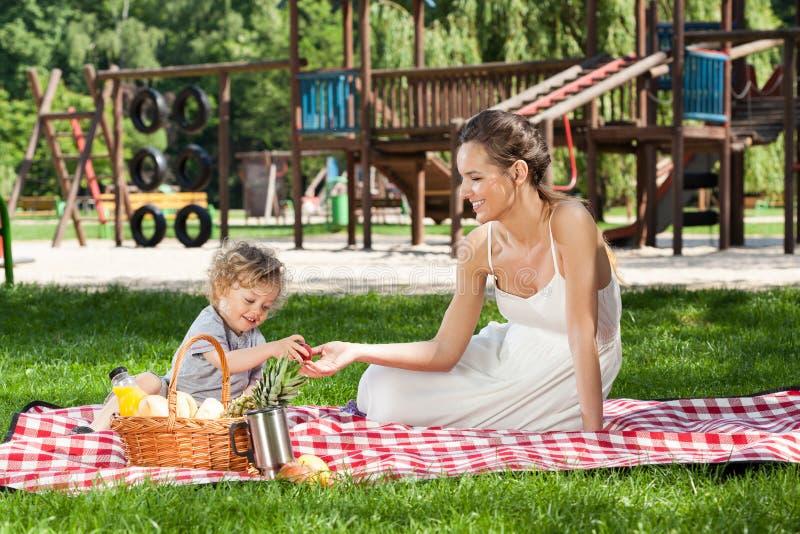 Maman pendant le pique-nique avec l'enfant images stock