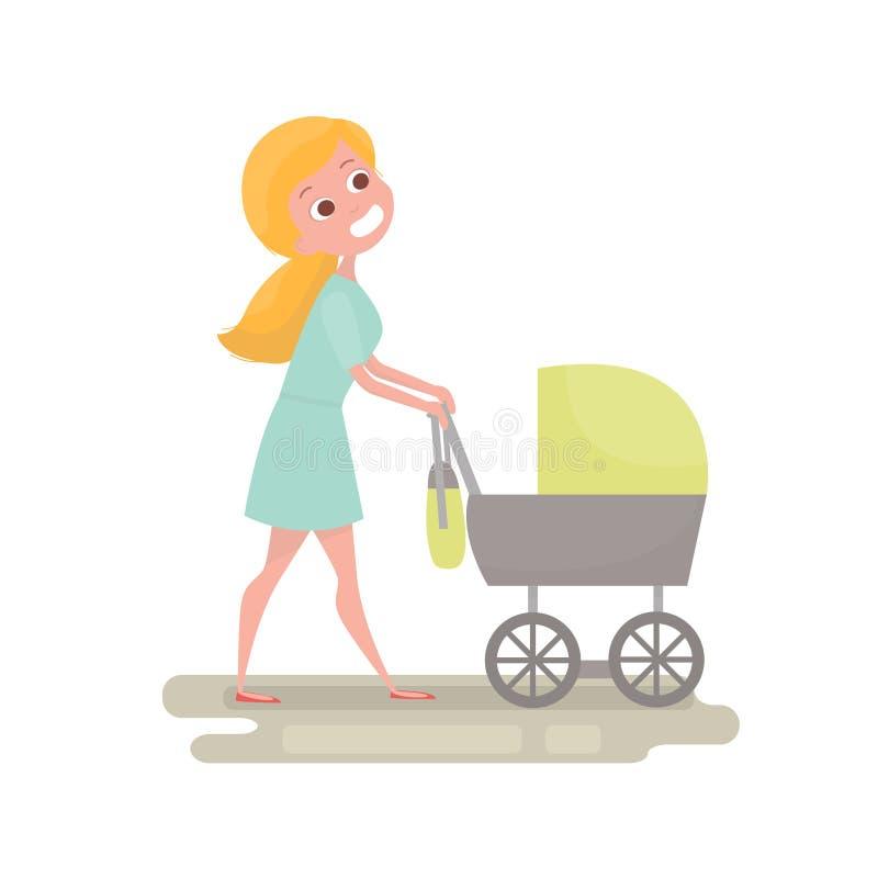Maman poussant son bébé dans une poussette Jeune femme avec le petit bébé sur la promenade Caractère de mère d'isolement Illustra illustration de vecteur