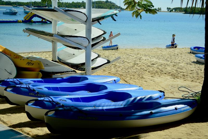 Mamanuca Island, Fiji, Aug 2019. Life Vests and kayaks for hire at a tourist resort. stock photo