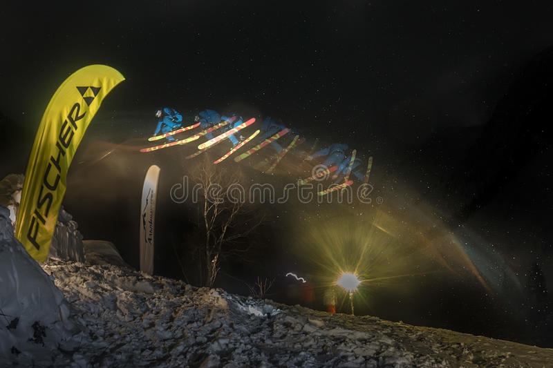 Mamay, Russie - 10 décembre 2016 : Freeride Mamay F de concours images stock