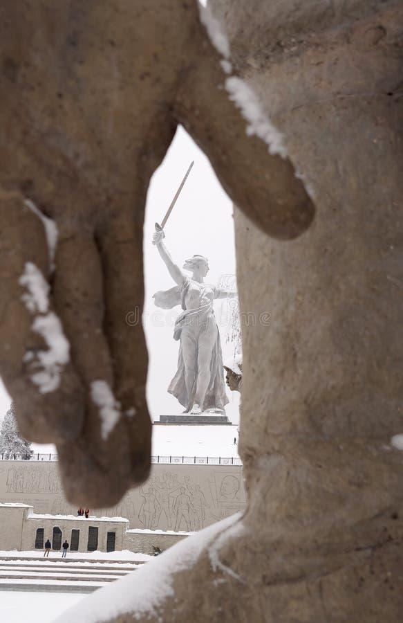 Mamayev complejo conmemorativo Kurgan en la héroe-ciudad de Stalingrad adentro imagen de archivo