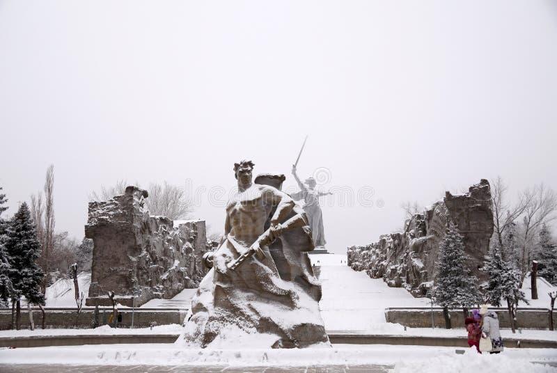 Mamayev complesso commemorativo Kurgan nella eroe-città di Volgograd dentro immagine stock