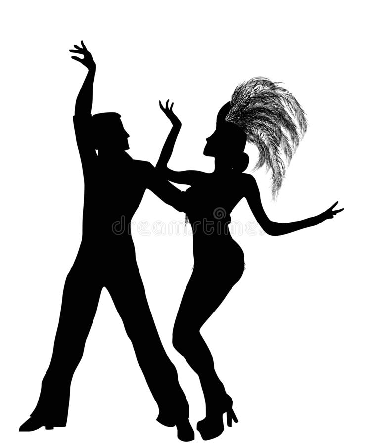 Mambo dancers silhouettes. Isolated and grouped objects over white background royalty free illustration
