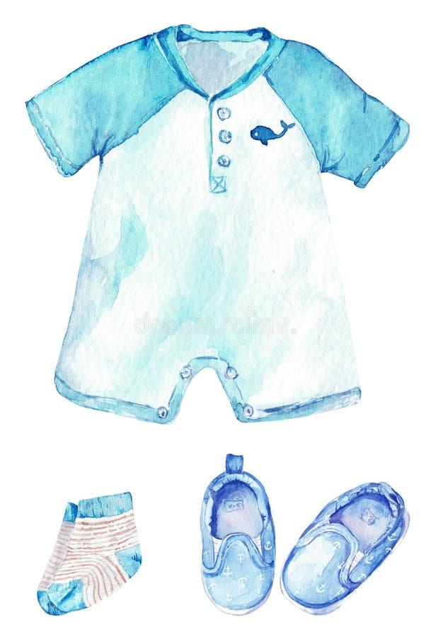 Mameluco del bebé con una ballena, calcetines rayados y zapatos con las anclas Poco equipo del marinero Ilustración de la acuarel ilustración del vector