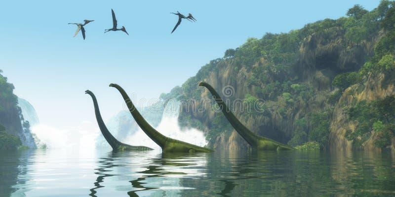 Mamenchisaurus dinosaura Mgłowy dzień ilustracja wektor