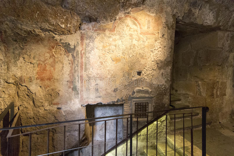 Mamertine prison. The Mamertine Prison, in antiquity the Tullianum, was a prison located in the Comitium in ancient Rome. It was located on the northeastern royalty free stock photography