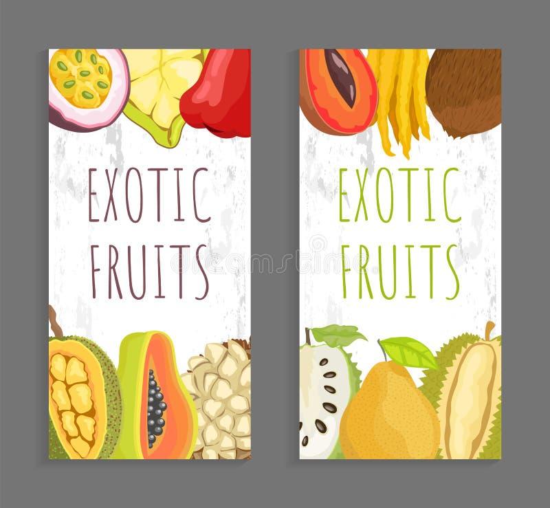 Mamey Citron, Sugar Apple, Pomelo Vector Brochure. Mamey citron, sugar apple, pomelo and durian. Passion fruit, cupuacu, chompoo and jackfruit, papaya and marang vector illustration