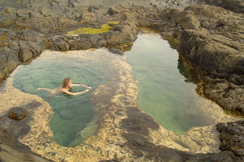 Mamie Canaria, région de Banaderos, piscines de roche images libres de droits
