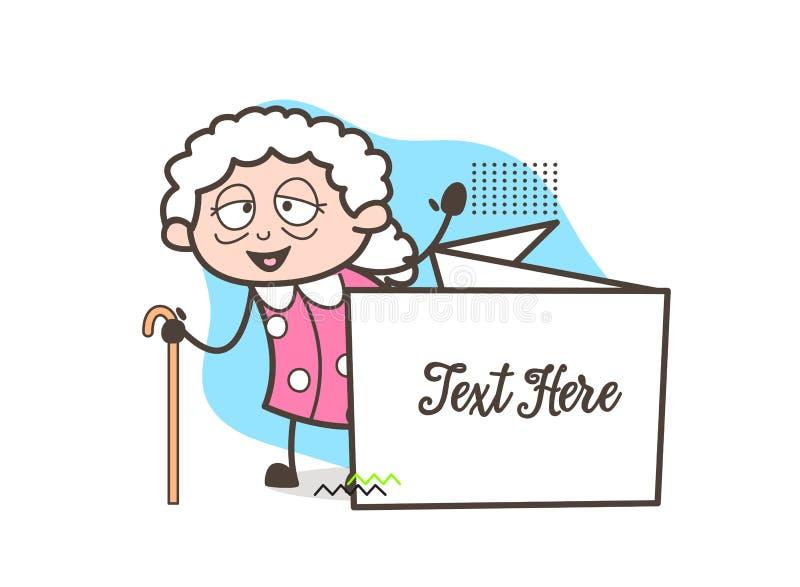 Mamie de bande dessinée avec l'illustration de vecteur de bannière d'annonce illustration libre de droits