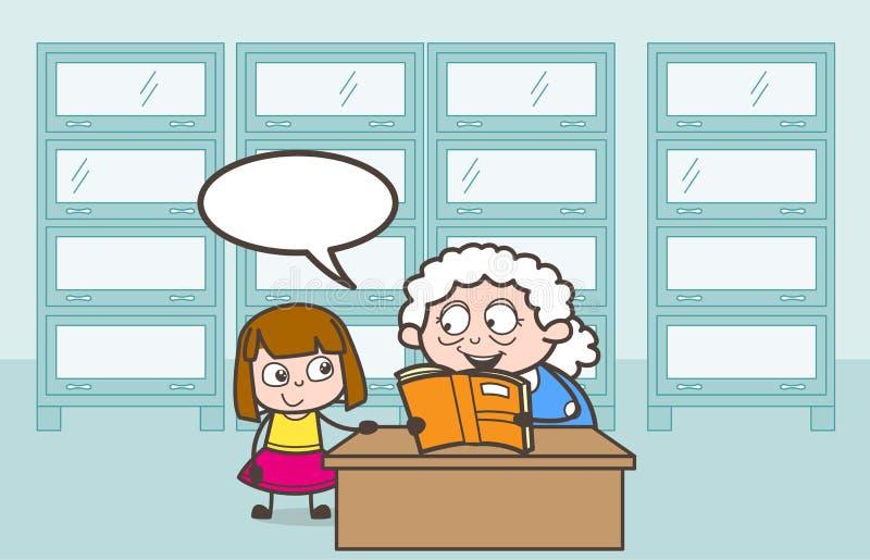 Mamie de bande dessinée disant la berceuse à son illustration de vecteur de petite-fille illustration stock