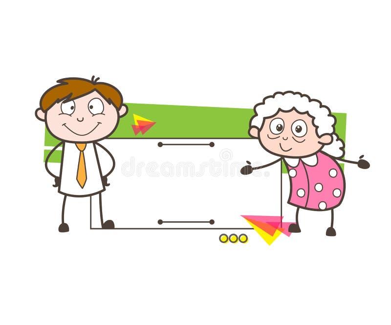 Mamie de bande dessinée et jeune garçon avec l'illustration de vecteur de bannière d'annonce illustration de vecteur