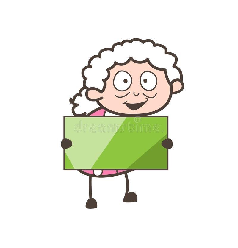 Mamie de bande dessinée tenant une illustration de vecteur de bannière d'annonce illustration stock