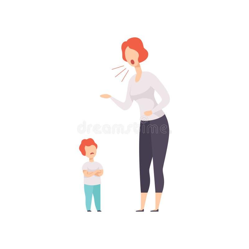 Mamma che rimprovera a suo figlio, giovane donna che urla all'illustrazione di vettore del bambino su un fondo bianco illustrazione di stock