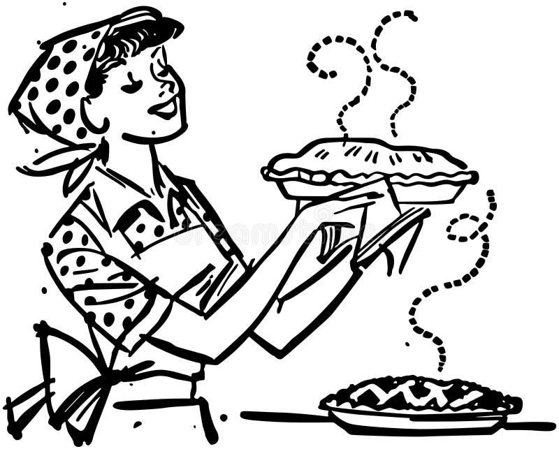 Mamma con le torte al forno fresche illustrazione vettoriale