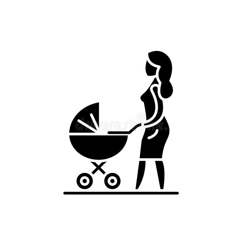 Mamma con un'icona nera della carrozzina, segno di vettore su fondo isolato Mamma con un simbolo di concetto della carrozzina illustrazione di stock