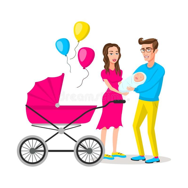 Mamma del papà con una carrozzina Una coppia sposata felice con un neonato, illustrazione di vettore del fumetto royalty illustrazione gratis