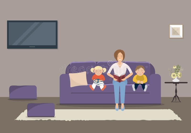 Mamma die een boek lezen aan kinderen in de woonkamer royalty-vrije illustratie