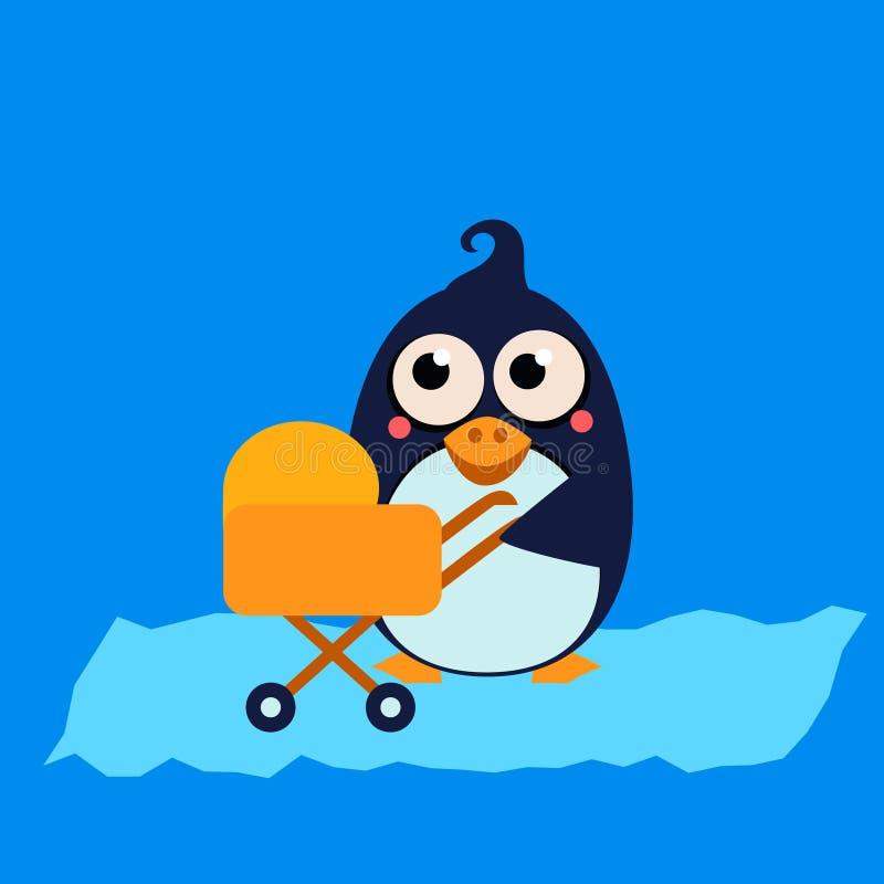 Mamma e bambino del pinguino in passeggiatore Vettore royalty illustrazione gratis