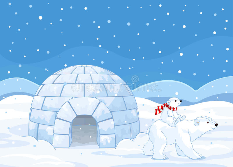 Mamma e bambino dell'orso polare illustrazione di stock